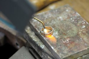 An insight into the soldering process -18ct gold bi-metal wedding ring