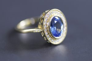 Ceylon Sapphire Halo Engagement Ring by Macdara Ó Graham