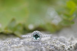 Teal Tourmaline Diamond Halo by Macdara Ó Graham